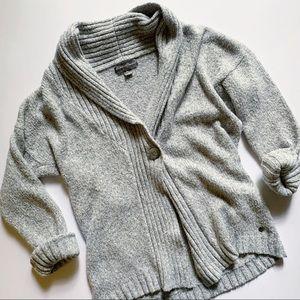 Eddie Bauer• knitted grey cozy button cardigan